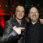 Quentin Tarantino points at Harvey Weinstein at the after-party for the premiere of Grindhouse in Los Angeles